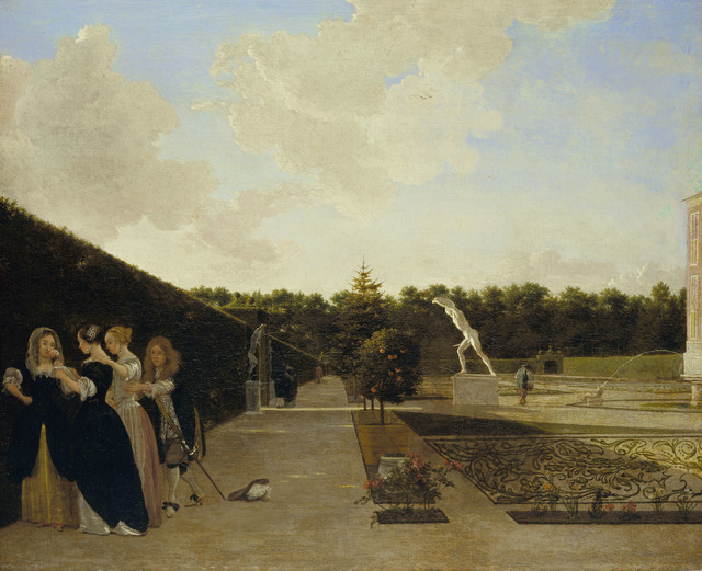 , 'A Formal Garden: Three Ladies Surprised by a Gentleman,' 1676, Royal Collection Trust