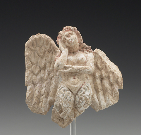 Mourning Siren, Greek, South Italian, Tarentine, ca. 350–300 b.c.e. Limestone with blue, brown, and red pigment. Yale University Art Gallery, Gift of Molly and Walter Bareiss, b.s. 1940s