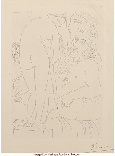 Pablo Picasso, 'Le Repos du Sculpteur devant un nu a la Draperie (from La Suite Vollard)', 1933, Heritage Auctions