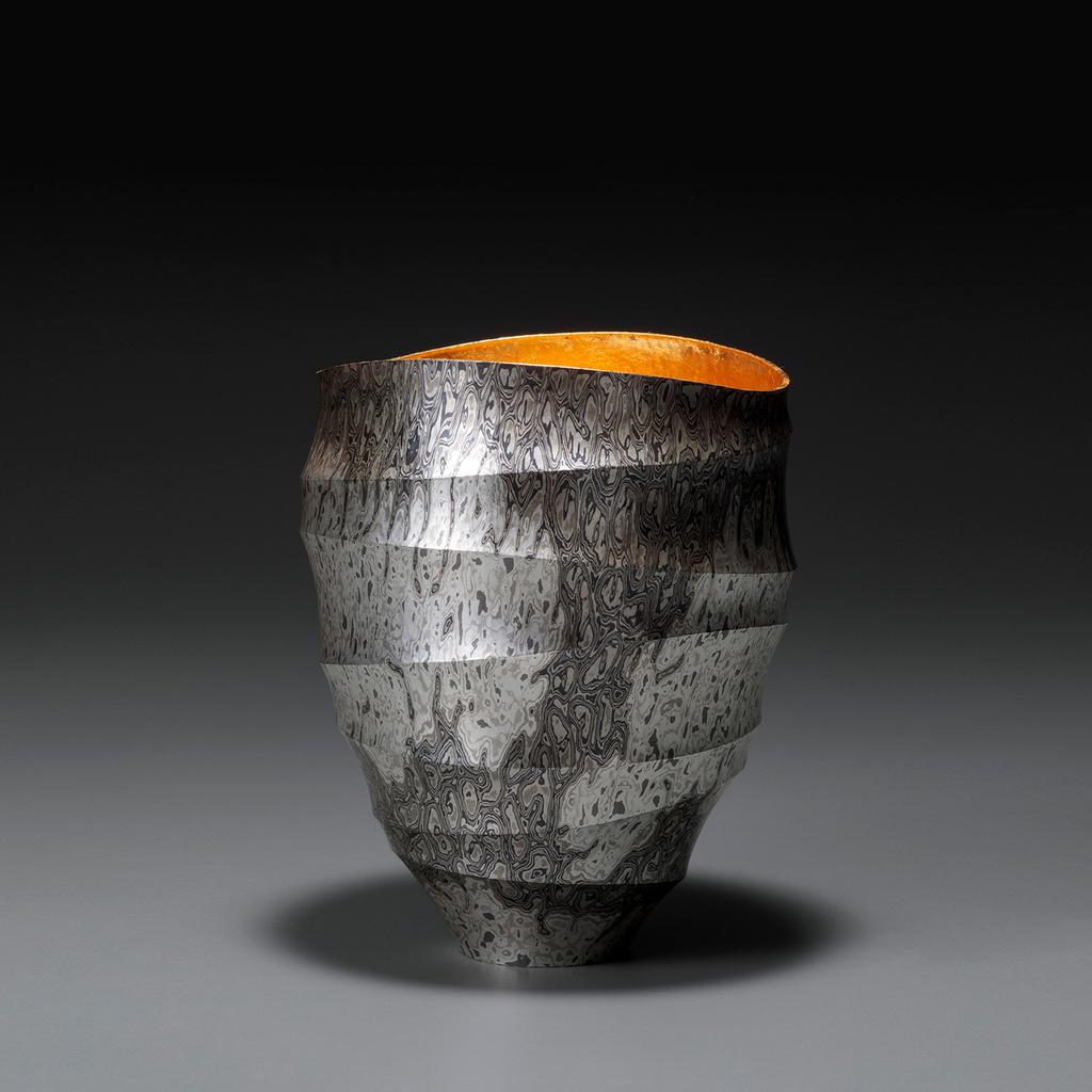 Ryuhei Sako, Large Open Vessel, H 16.2 x W 16.2 x D 16.2 cm, Mokume-gane (Mixed Metals)