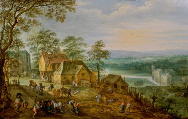 , 'View of a village with castle below, in a panoramic landscape ,' , De Jonckheere
