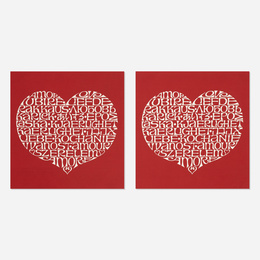 International Love Heart fabric panels, pair