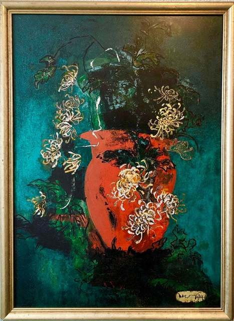 William Scharf, 'Bright Vibrant Pop Art Enamel Oil Painting Flowers NYC Abstract Expressionist', 1990-1999, Lions Gallery