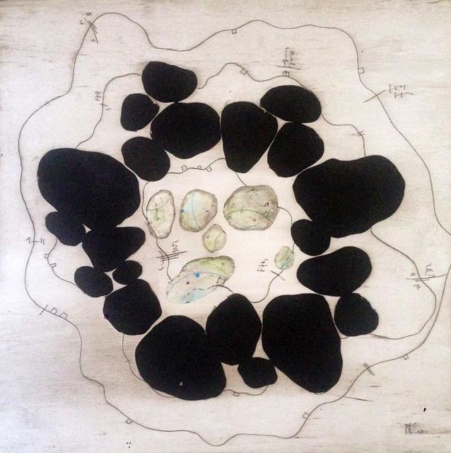 Manu vb Tintoré, 'L'ànima de les pedres 8', 2017, Drawing, Collage or other Work on Paper, Enamel and color pencil on engraved paper, N2 Galería