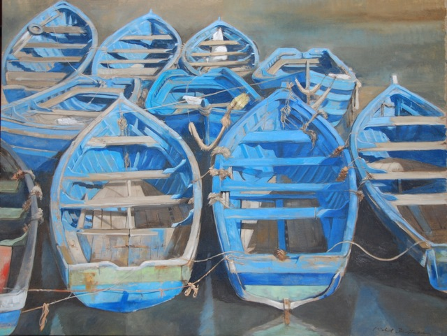 """, '""""All Tied Up"""" Oil painting of Blue Wooden Rowboats Tied at Dock, Painted on Linen,' 2010-2017, Eisenhauer Gallery"""