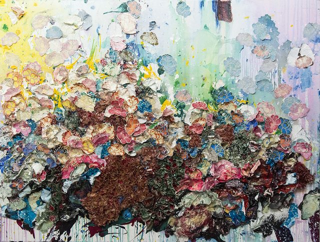 Zhuang Hong Yi, 'Composition #815 - large, floral, textured, origami, bright, colourful resin art', 2012, Painting, Mixed media on canvas, Oeno Gallery