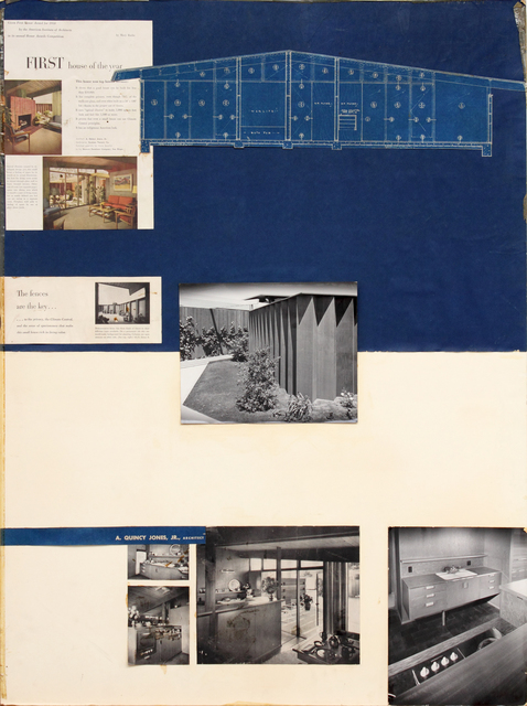 , 'Presentation panels for Prototype House for developer H.C Hvistendahl, San Diego, CA, with vintage original photographs by Maynard Parker, magazine clippings and blueprints of floor plan,' 1948, Edward Cella Art and Architecture