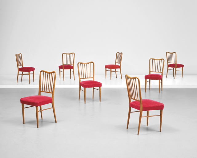 Paolo Buffa, 'Set of eight side chairs', early 1950s, Design/Decorative Art, Oak, fabric., Phillips