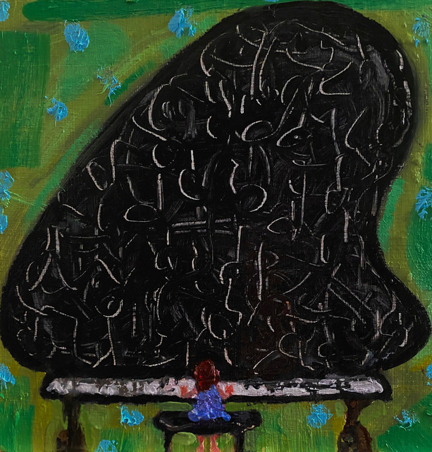 Mary Devincentis, 'Trying to Learn a New Song', 2020, Painting, Oil on found wood, The Painting Center