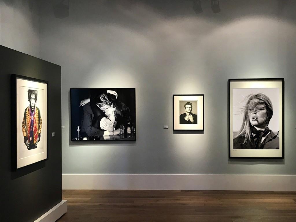 Gered Mankowitz, Jimi Classic Colour, Mason's Yard Studio, London, 1967 Harry Benson, Berlin Kiss, 1996 Roy Schatt, James Dean (from the Torn Sweater series), 1954 Terry O'Neill, Brigitte Bardot, Cigar, 1971