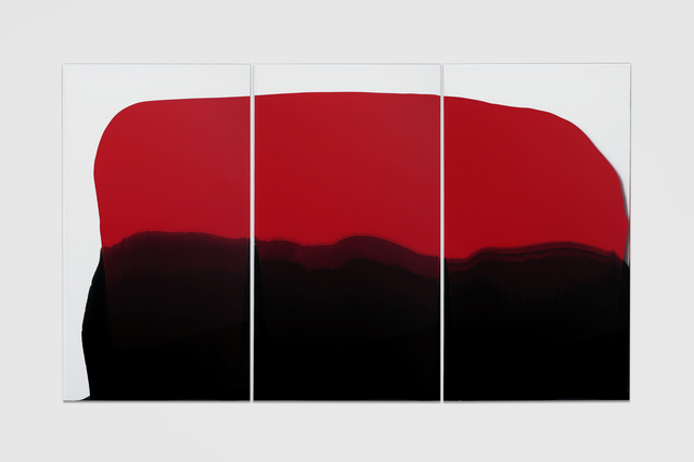 , 'En Masse (red and black triptych),' 2017, Galerie Allen