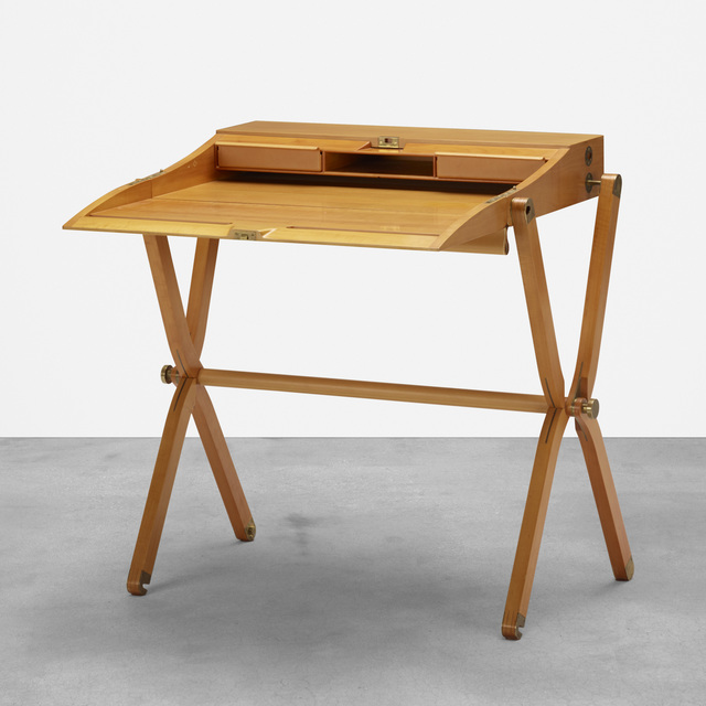Hermès, 'Pippa folding desk', 1991, Design/Decorative Art, Pearwood, leather, brass, Rago/Wright