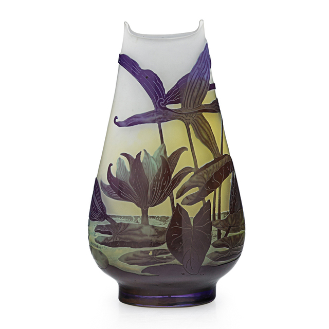 Galle, 'Vase With Water Lilies, France', Early 20th C., Design/Decorative Art, Acid-Etched Cameo Glass, Rago/Wright