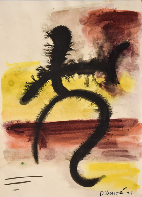 Dusti Bongé, 'Untitled (Black Abstract Composition with Red and Yellow)', 1949, Amanda Winstead Fine Art