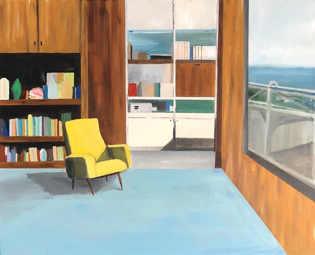 Polly Shindler, 'Office with Yellow Chair and View', 2019, Painting, Acrylic on canvas, Caitlin Berry Fine Art