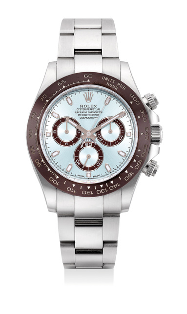 Rolex, 'An extremely fine and rare platinum chronograph wristwatch with ice blue dial, bracelet, guarantee and presentation box', Circa 2018, Phillips