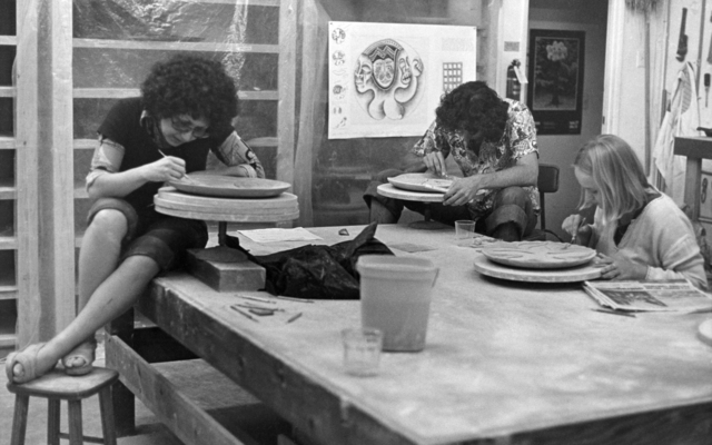 ", 'Judy Chicago Working in ""The Dinner Party"" Ceramics Studio,' 1977, Brooklyn Museum"