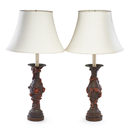 Pair of Japanese Bronze and Metal Table Lamps