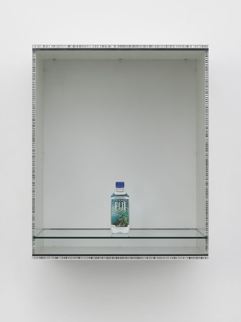 Haim Steinbach, 'Untitled (Fiji)', 2013, Sculpture, Fibreglass-faced honeycomb boards, plastic laminate and glass box; plastic water bottle, White Cube