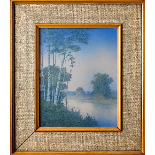Edward T. Hurley, 'Rookwood, Scenic Vellum Plaque With Misty Landscape (Framed), Cincinnati, OH', ca. 1915, Rago/Wright