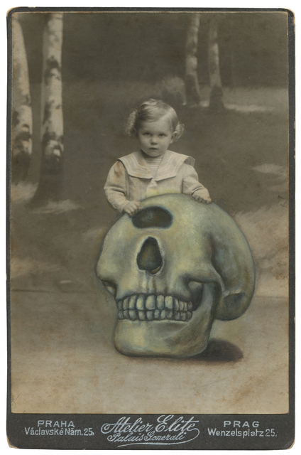 Jana Paleckova, 'Untitled (One Eyed Skull)', 2016, Drawing, Collage or other Work on Paper, Oil paint vintage photograph, FRED.GIAMPIETRO Gallery