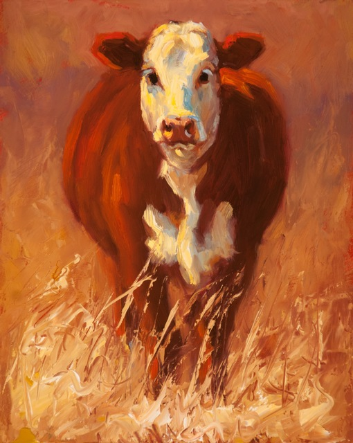 """Cheri Christensen, '""""Out Standing in the Field"""" Cow in Yellow Grass in Warm Colors, Dramatic Light', 2010-2017, Eisenhauer Gallery"""