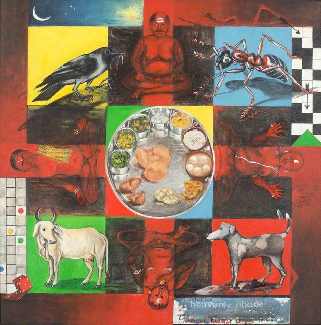 "Meera Devidayal, 'Shraddha, Ritual, Acrylic Painting, Bands of colors, 21st Century Artist""In Stock""', 2000, Gallery Kolkata"