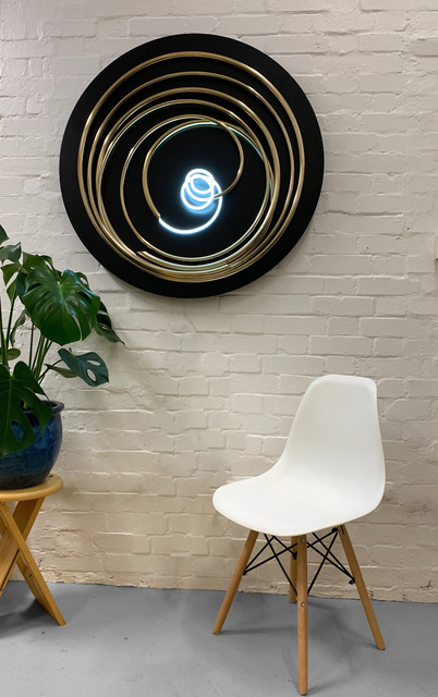 Mark Beattie, 'White Neon in Gold Spiral', 2019, Sculpture, 24ct gold plated copper & white neon on painted steel wall-disk, Apotheosis Art