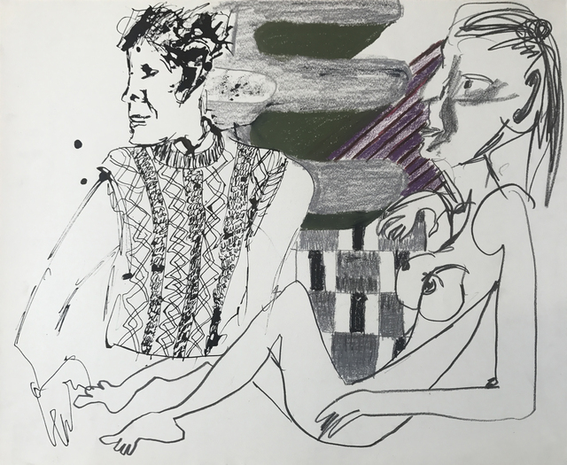, 'Untitled (figures with knit sweater and pattern),' 2016, MARTOS GALLERY