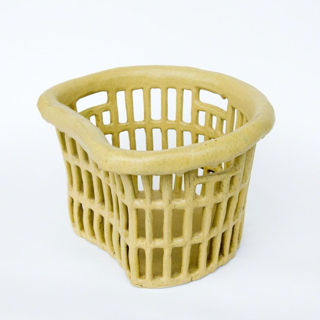 Round Hip-Hugger Laundry Hamper (matte yellow)