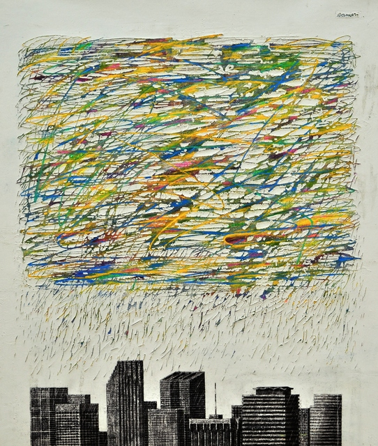 Juan Ranieri, 'Sudden storm over the Downtown ', 2017, Painting, Elastomeric mastic, enamel and acrylic on canvas, Smart Gallery BA