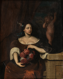 Seated Woman with a Bouquet of Roses, A Figure of Cupid Behind Her