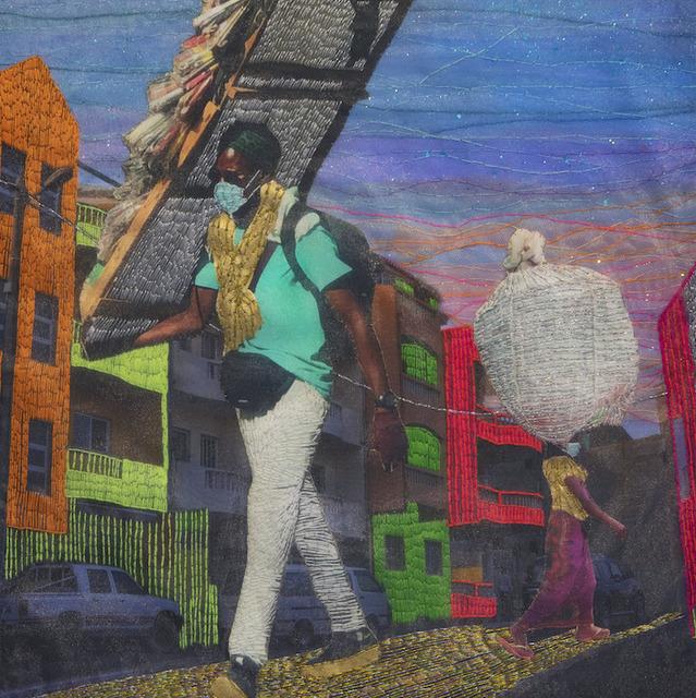 Joana Choumali, 'The sisyphean dreamers ', 2020, Mixed Media, Embroidery on digital photography printed on canvas, Loft Art Gallery