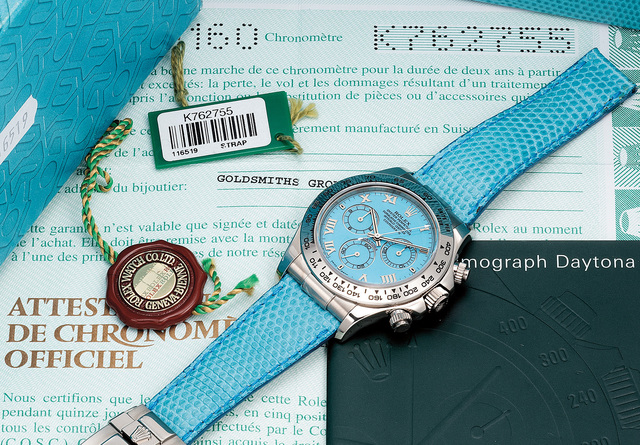 Rolex, 'A fine and unusual white gold chronograph wristwatch with turquoise dial, guarantee and box', Circa 2001, Phillips