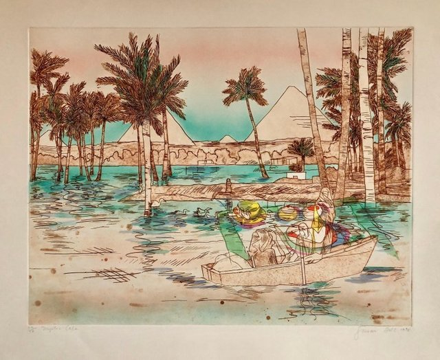 Susan Hall, 'Mystic Cafe, Signed Aquatint Etching California Woman Artist', 1970-1979, Print, Etching, Aquatint, Lions Gallery