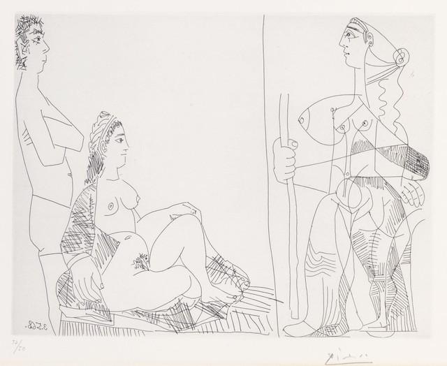 Pablo Picasso, 'Couple et voyageuse, from La Série 347', 1968, Print, Etching on Rives paper, Christie's