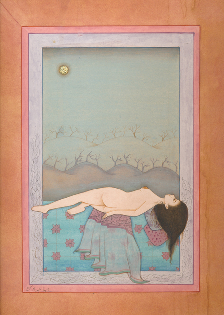 Hiba Schahbaz, 'Night', 2020, Drawing, Collage or other Work on Paper, Gouache, Tea and Gold Leaf on Wasli Paper, Food Bank For New York City Benefit Auction