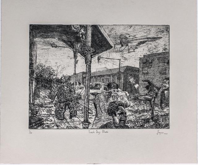 Johan Stegmann, 'Trash Jozi Blues', 2019, Print, Hardground etching with aquatint, David Krut Projects