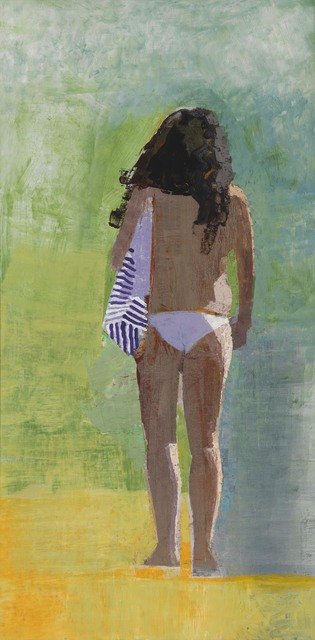, 'Woman with Striped Bag,' 2016, Caldwell Snyder Gallery