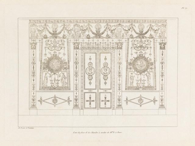 Charles Percier, 'L'Une des Faces de la Chambre à Coucher de Mme G. à Paris', 1812, Cooper Hewitt, Smithsonian Design Museum