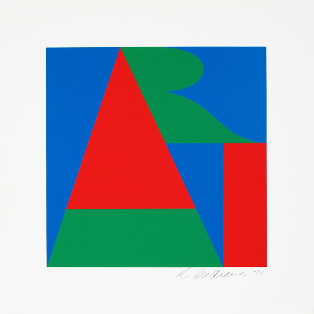 Robert Indiana, 'The Bowery ART, On The Bowery', 1971, Print, Screenprint in red, blue and green on Schoellers Parole, Woodward Gallery