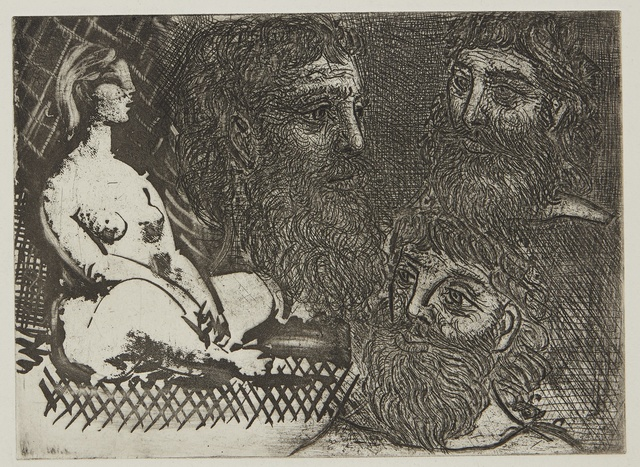 Pablo Picasso, 'Femme nue assise et têtes barbues (B. 216; Ba. 416)', Print, Aquatint, scraper, drypoint, and etching, Sotheby's