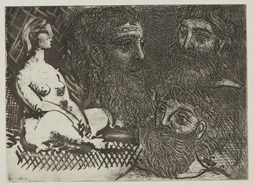 Femme nue assise et têtes barbues (B. 216; Ba. 416)
