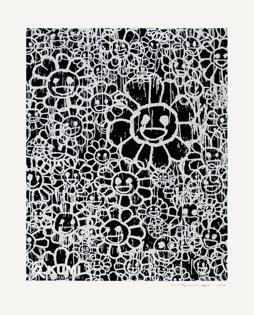 Takashi Murakami, 'Murakami x MADSAKI Flowers Black C', 2017, Painting, Silkscreen, Kumi Contemporary / Verso Contemporary