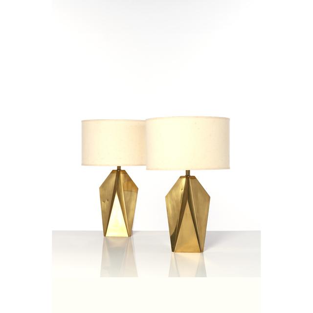 'Pair Of Table Lamps', 1960, Design/Decorative Art, Laiton et tissu, PIASA