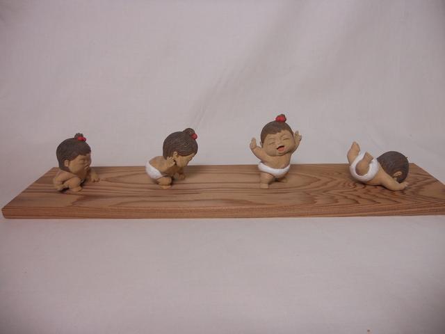 Miki NAGASAKI, 'Series <Rising Aa-chan> (set of 4)', 2013, Sculpture, Camphor, Watanuki Ltd. / Toki-no-Wasuremono
