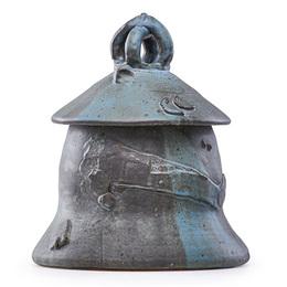 Ashanti lidded vessel, gunmetal and verdigris glaze, Alfred, NY