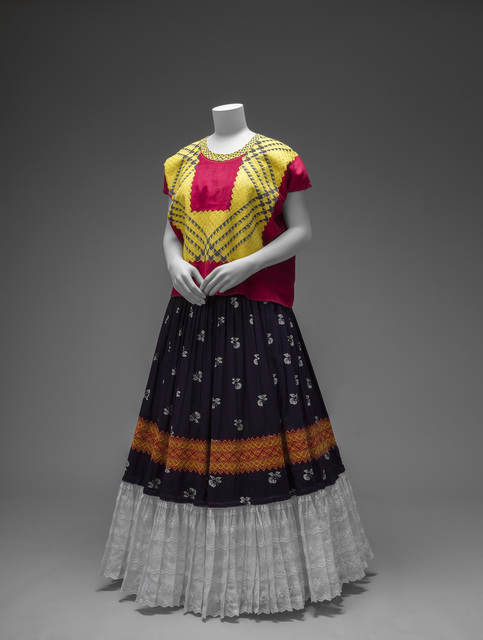 , 'Cotton huipil with machine-embroidered chain stitch; printed cotton skirt with embroidery and holán,' , Victoria and Albert Museum (V&A)