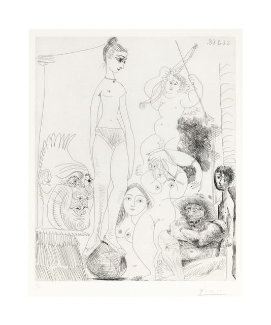 Pablo Picasso, 'Autoportrait transposé et déboublé rêvant au cirque, avec Jacqueline en acrobate à la boule, from La Série 347', 1968, Christie's