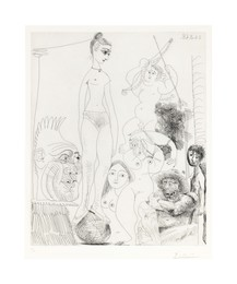 Autoportrait transposé et déboublé rêvant au cirque, avec Jacqueline en acrobate à la boule, from La Série 347